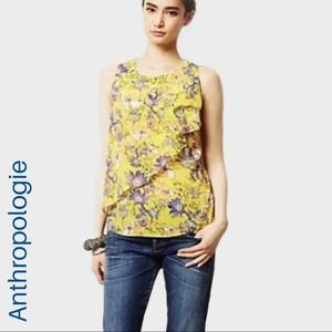 Anthro HD in Paris yellow floral ruffle tank
